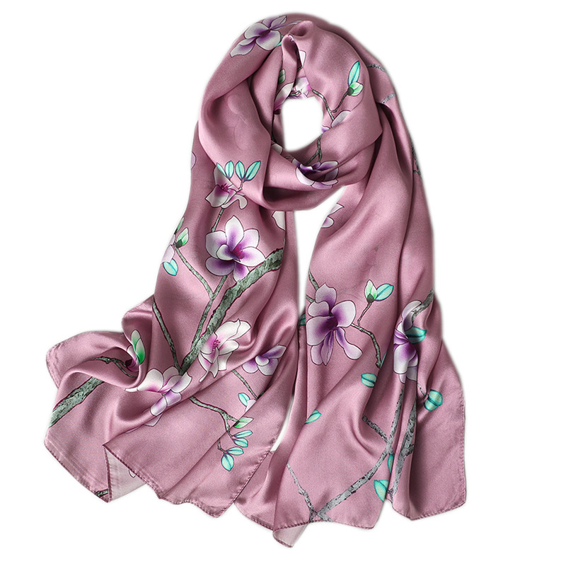 Image 5 - 100% real silk scarf women 2020 new fashion shawl and wrap high quality soft long neck scarf for lady elegant floral print scarfWomens Scarves   -