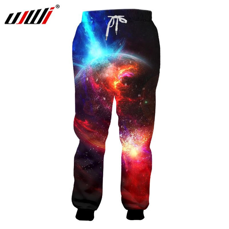 UJWI Pants Men Hip Hop Streetwear High Waist Jogger Trousers New Arrival 3D Print Galaxy Star Planets Sweat Pants Pantalon Homme