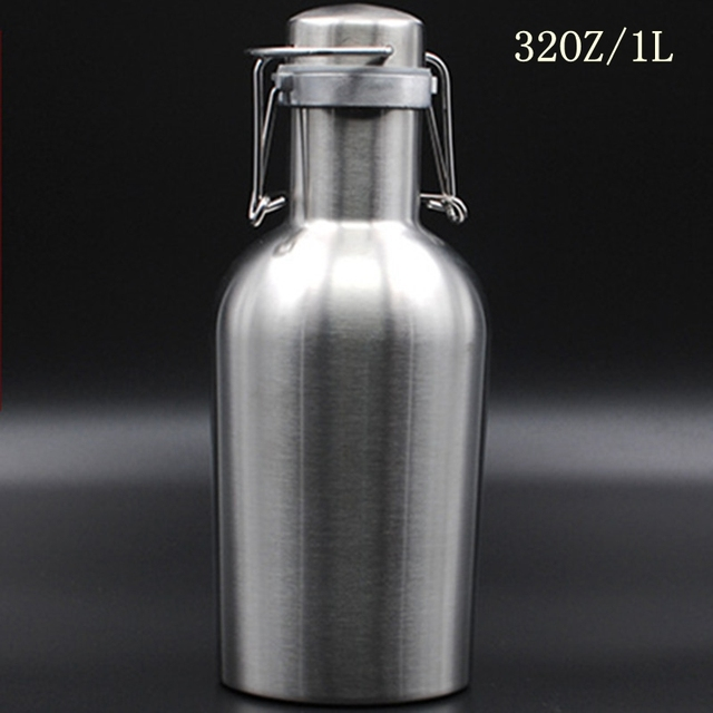 Homebrew 32 OZ/64 OZ Rvs Bier Growler 1.0L/2.0l Veilige Swing Top Deksel Ambachtelijke Bier Fles saver Gratis