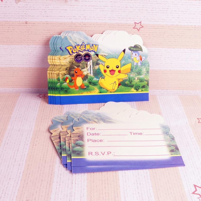 10 Stks Kaarten Pokemon Go Ontwerp Uitnodiging Voor Kids Decoratie Benodigdheden