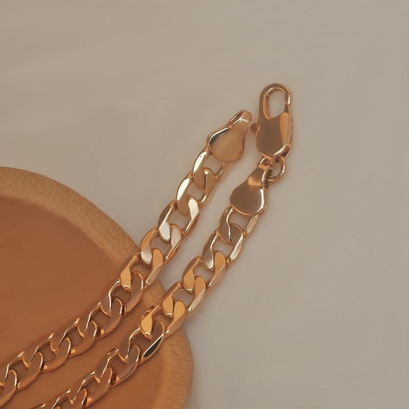 MxGxFam(специальная цена)(50 см* 6 мм) свинец и никель бесплатно 18 Желтое золото цвет цепи ожерелья для мужчин Европейская мода
