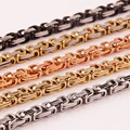 Customized Size 16-40'' 4/5mm Mens Jewelry Silver/Gold/Black/Rose Gold Stainless Steel Byzantine Chain Necklace, High Quality