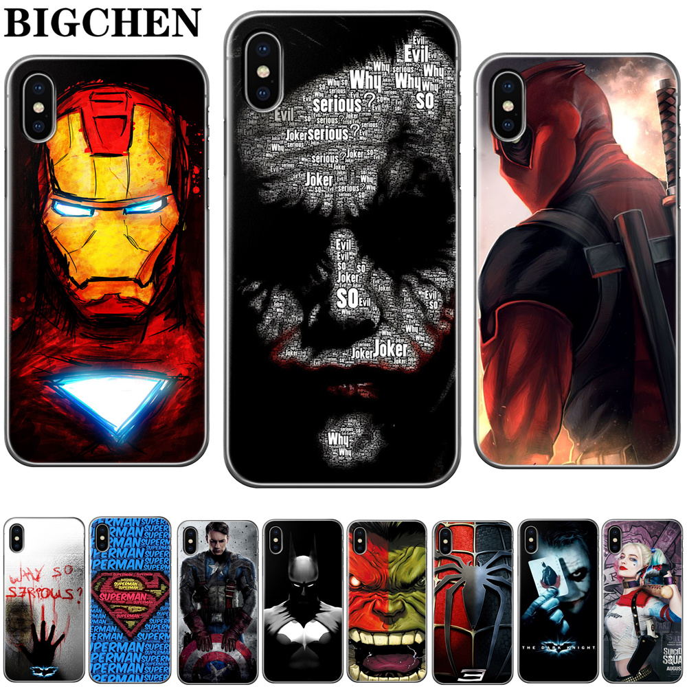 Suicide Squad The Avengers Soft TPU Silicone Cover For iPhone 6 6s 7 8 Plus Case for Apple iPhone X 5 5s SE 7Plus 6sPlus чехлы марвел