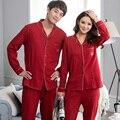 Par de pijamas fijaron 100% pijama de algodón de primavera estilo red de dormir mujeres y hombres de manga larga da vuelta abajo pijama vestidos