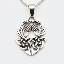Drop Shipping Celtics Knot Thistly Flower Field Scotland National Symbol Necklace Charm Fashion Jewelry For Men Women SGL224