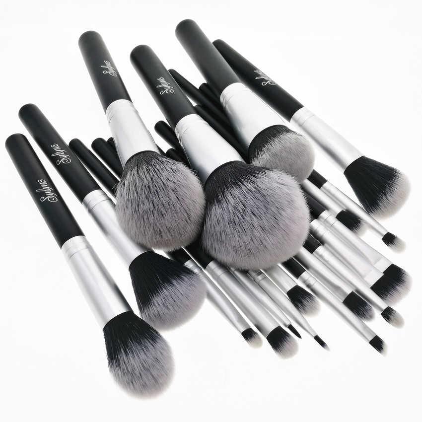 Sylyne 18 Pcs Up Kwasten Professionele Make-Up Borstel Set Synthetisch Haar Gezicht & Ogen Zwarte Make Up Kwasten Set Kit gereedschap.