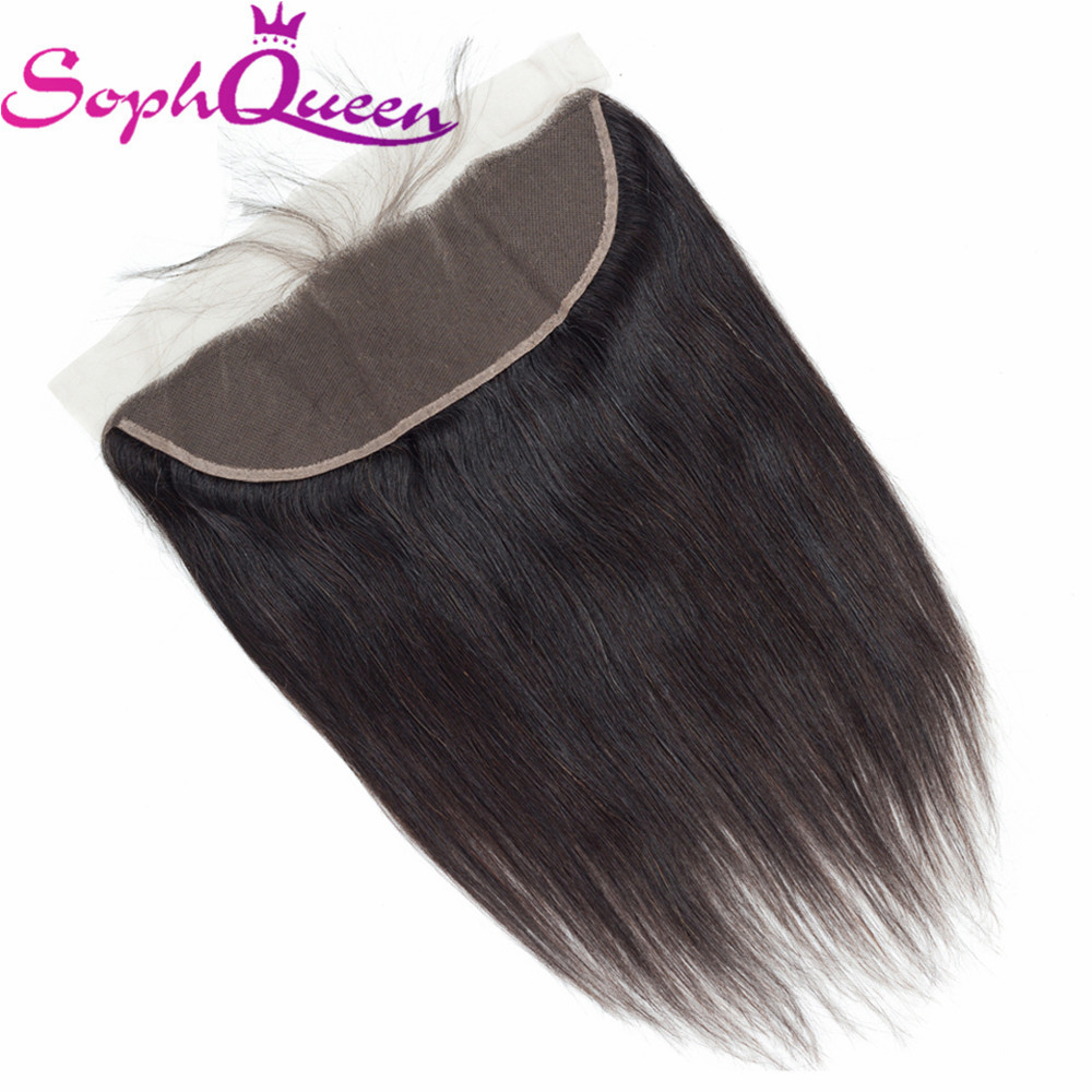 Soph Queen Hair Lace Frontal 13*4 Closure Straight Indian Remy Hair Weaving 100% Human Hair Closure With Baby Hair Hand Tied