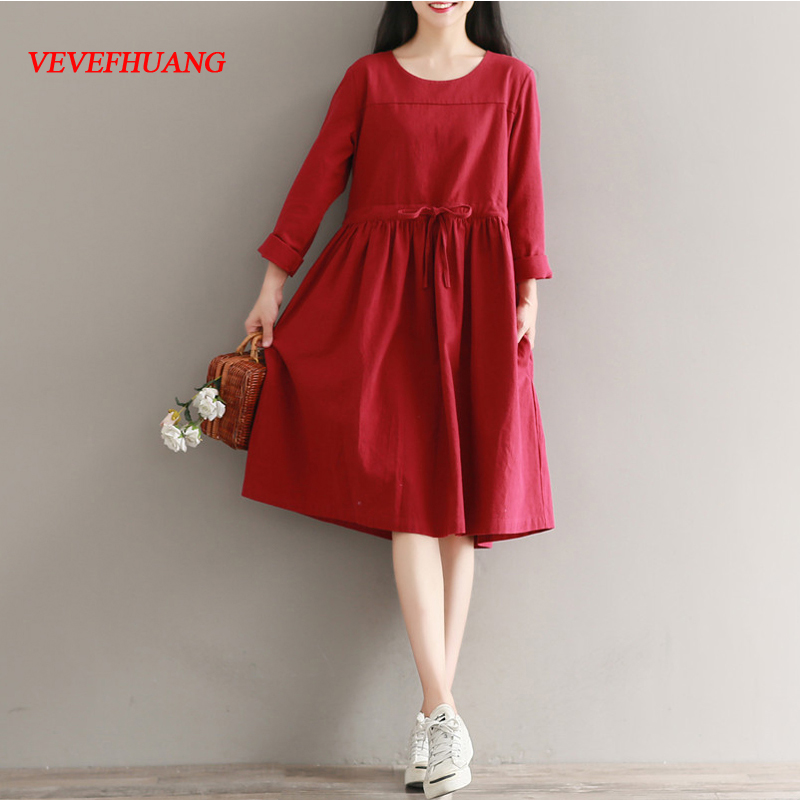 2018 Women dress Full Sleeve Loose Cotton And Linen Dresses Red L0923