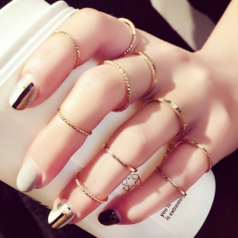 10pcs/set Gold Knuckle Ring Personality Set Joint Ring Wedding Fashion Silver Midi Rings for Women Jewelry Accessories Wholesale