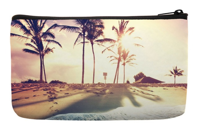 90b5311b9 Summer Style Sunshine Tropical Beach Seaside of Caribbean Print Customized Small  Cosmetic Bag Wristlet Makeup Bags