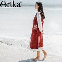 Artka Autumn Women S Waistcoat Corduroy Long Vest Women Embroidery Sleeveless Vest Jacket 2017 Vintage Female