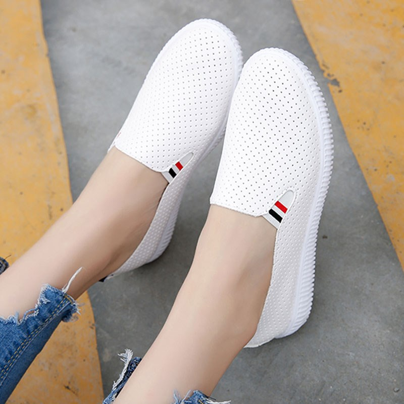 Women Casual Shoes Flats Breathable With Hole Soft for Walking Comfortable Slip On White Shoes For Lady 6h32 ribetrini 2018 top quality slik upper crystals slip on spring summer shoes women flats comfortable date easy for walking