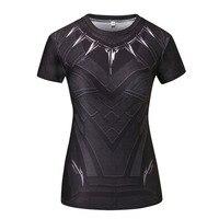 Black Panther Compression Shirt 3D Printed T Shirt Women Captain America Slim Short Sleeve Tops Female