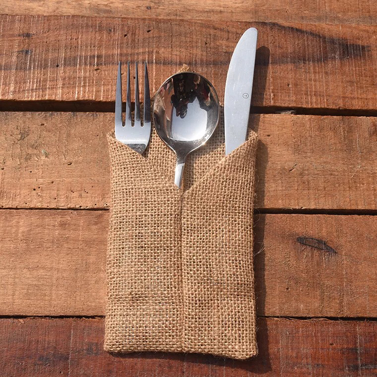 Us 17 94 5 Off 24pcs Country Wedding Table Silverware Holder Linen Burlap Cutlery Pockets Fork Rustic Home Decor Centerpieces In