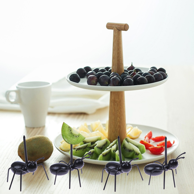 12pcs/set Reusable Kawaii Ant Fruit Fork Fashion Tableware Multiple Use Snack Cake Dessert Forks For Party Fruit Pick