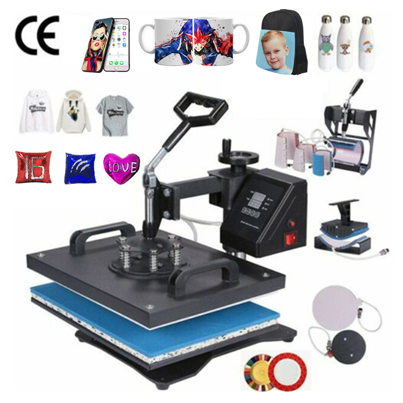 30*38CM 8 In 1 Combo Heat Press Machine Sublimation Printer 2D Thermal Transfer Cloth Cap Mug Plate T-shirt Printing Machine(China)
