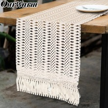 OurWarm Macrame Table Runner for Wedding Cotton Crochet Lace with Tassels 30x274CM Bridal Shower Boho Decor
