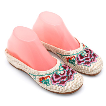 Special Offer Women's Summer Canvas Slipper Floral Embroider Breathable Casual Slides Flat Heel Walking Shoe Standard Size 1