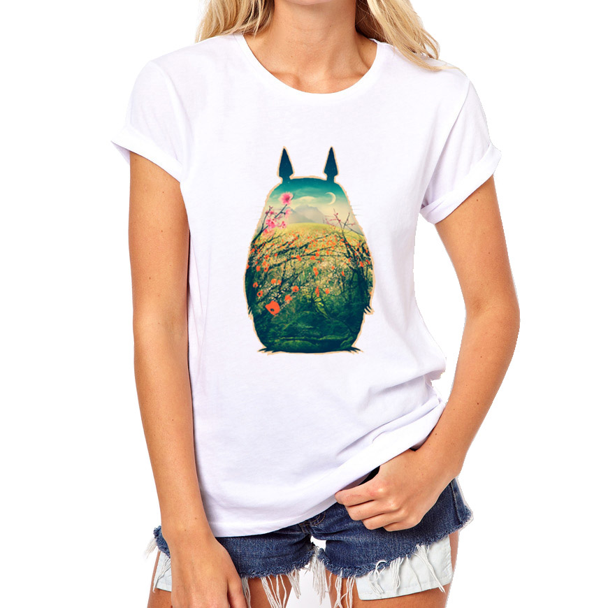 Summer Anime Totoro T Shirts Women Fashion Cotton Print O ...