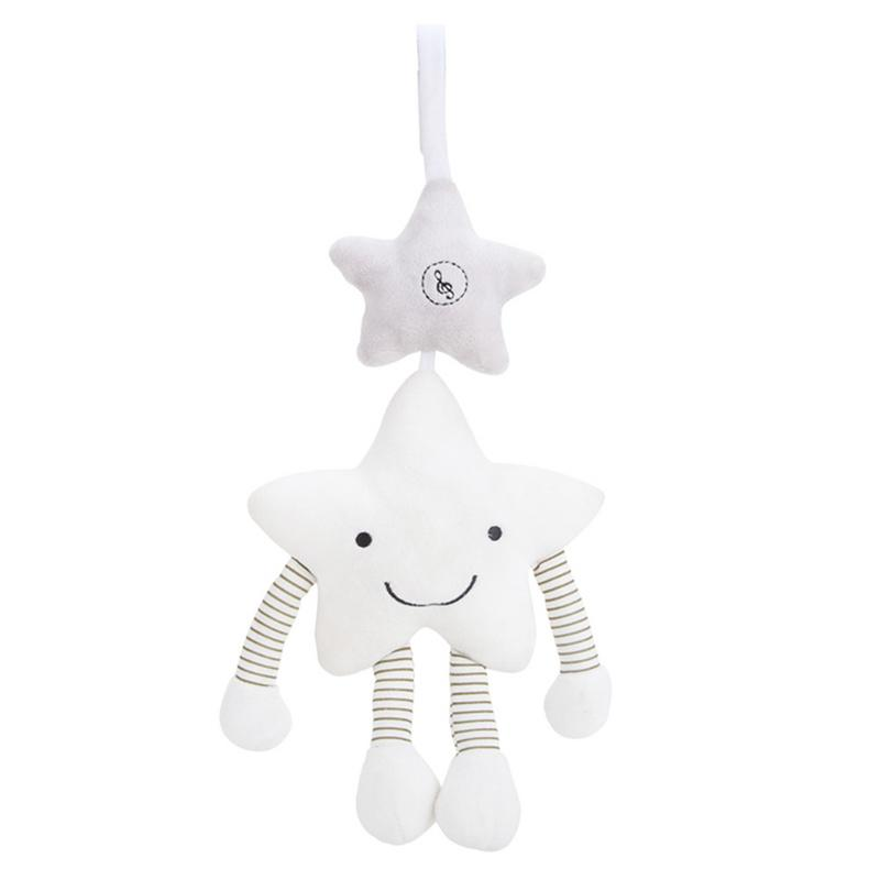 Cute Baby Toy Gift White Five-pointed Star Music Wind Chime Hanging Singing Stroller Bed Hanging Bed Bell Accompany Toy Soft