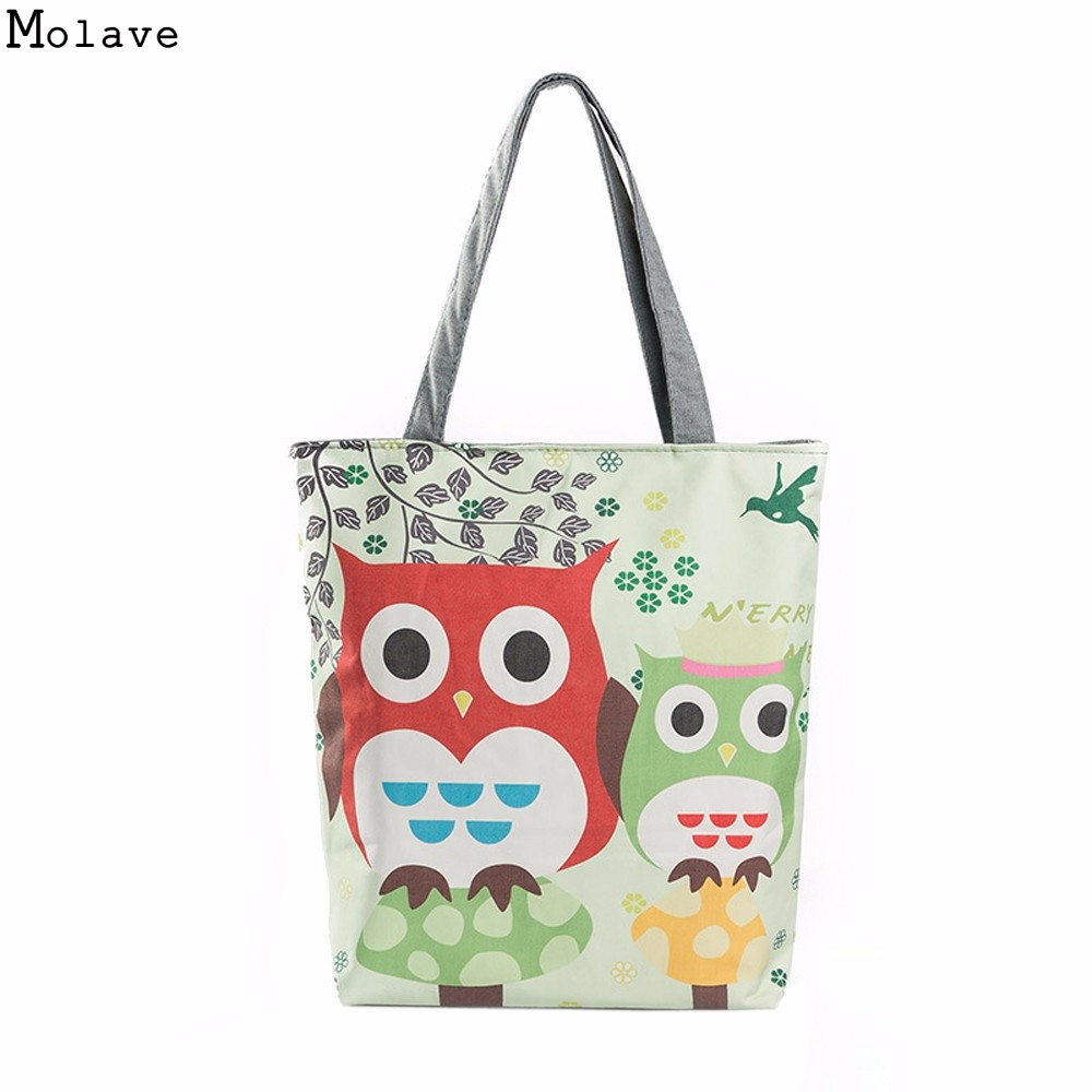 Cartoon Owl Print Casual Tote Lady Canvas Beach Bag Female Handbag Large Capacity Women Single Shoulder Shopping Bags D35Ma7 women s casual tote female shopping bag ladies single shoulder handbag simple beach bag sacoche baobao bags for women on sale