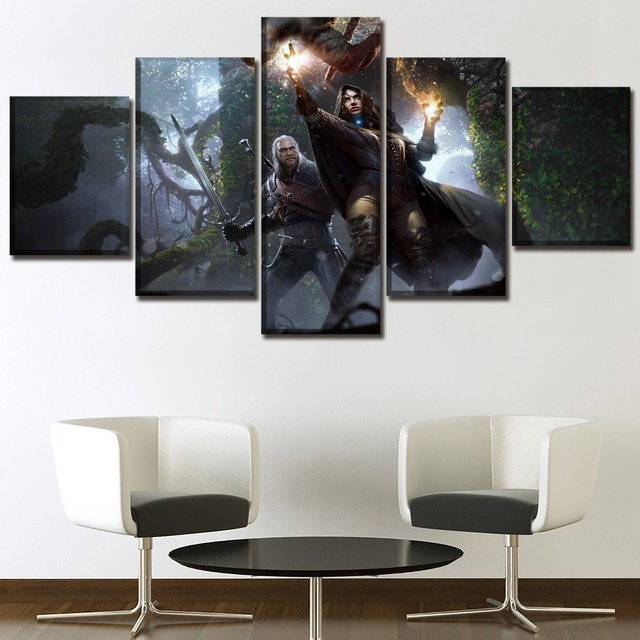 Modern HD Printed Framework Canvas Picture 5 Piece Game The Witcher 3 Wild Hunt Yennefer Geralt Painting Home Decor Living Room 3