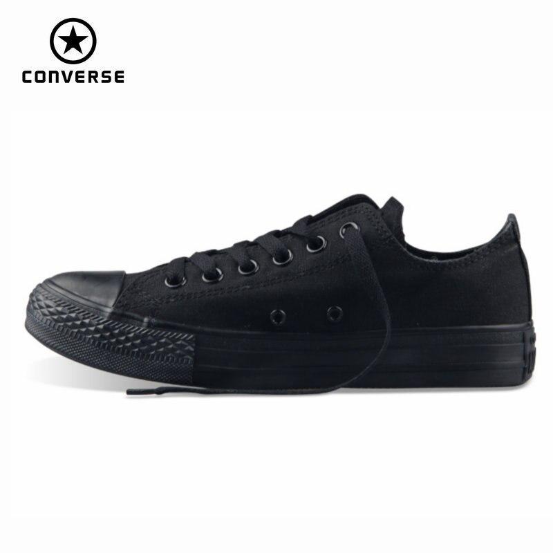 Original Converse all star dos homens e das mulheres sneakers para as mulheres homens sapatas de lona todo preto baixo de Skate clássico sapatos