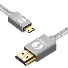 ANNNWZZD HDMI למיני HDMI נתונים קו כבל V1.4 זהב מצופה תקע 3D 1080P וידאו אות שידור עבור Tablet מחשב נייד טלפון D
