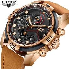 купить Fashion Men Watches LIGE Top Brand Luxury Business Chronograph Male Quartz Clock Leather Waterproof Watch Men Relogio Masculino дешево