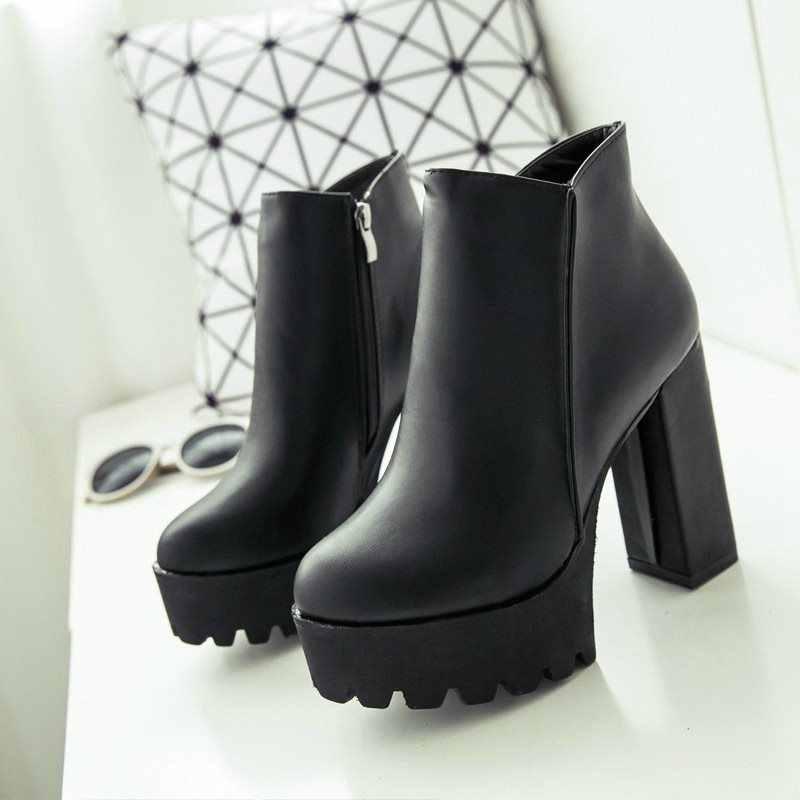 Pour les femmes fermeture éclair latérale mode bottines plate-forme épaisse talon haut 12 cm dames bottes hiver femme chaussures 2 style noir botte