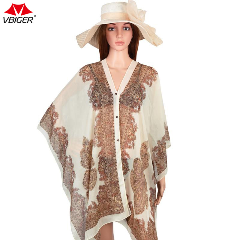Vbiger Women Beach Cover Up Print Floral Sunproof Bikini Swimsuit Cover Ups Bathing Suit Cover Up Scarf Long Shawl Wrap