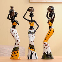 Creative Home Furnishing Decorative 3pcs Resin Doll 7 8 Tall African Decor Crafts New Living Room