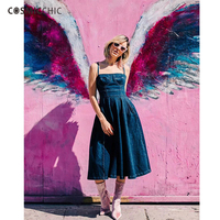 Cosmicchic 2018 осень джинсовые спагетти ремень платье 3D перо вышивка аппликация на спине мода взлетно посадочной полосы джинсы сексуальное плать