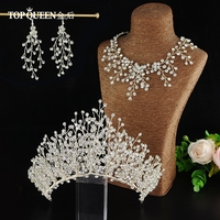 TOPQUEEN HP193 wedding accessories set diamond necklace set bridal necklace set for wedding crown Wedding Bridal Tiara