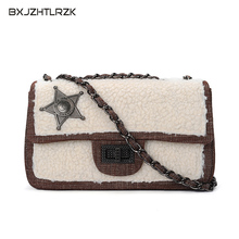 hot deal buy 2018 autumn and winter crossbody bags for women clutch wool luxury shoulder bags lamb hair chain badge decoration shoulder bag