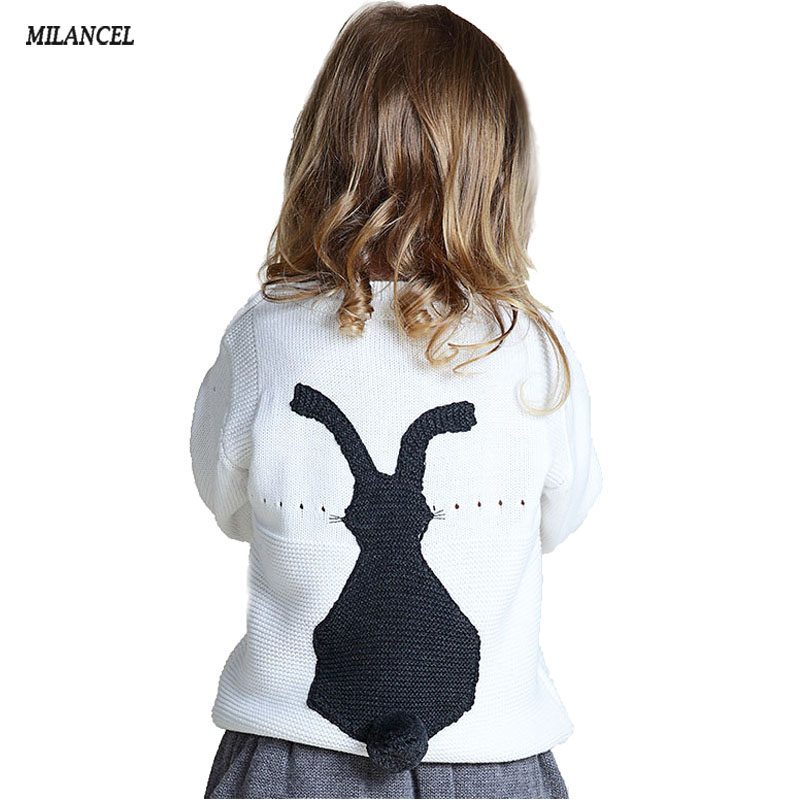 2018 Spring Knitted Boys Sweaters Kids Girls Sweaters Rabbit Style Baby Cardigans for Girl Children Bunny Pullover rabbit print pullover