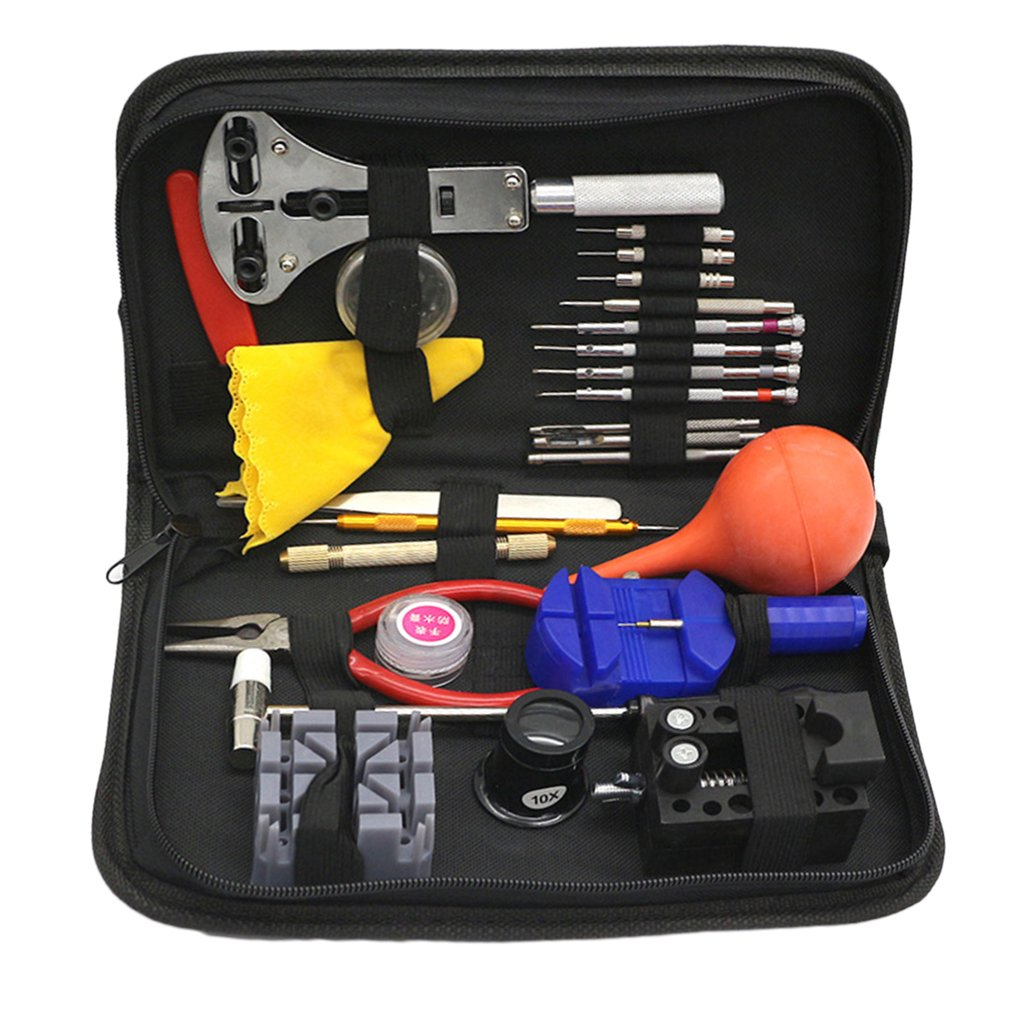 27pcs/set Watch Repair Tools Sets Kit Multi function Watch Tool Watchmakers Set With Black Case Change Watches Accessories