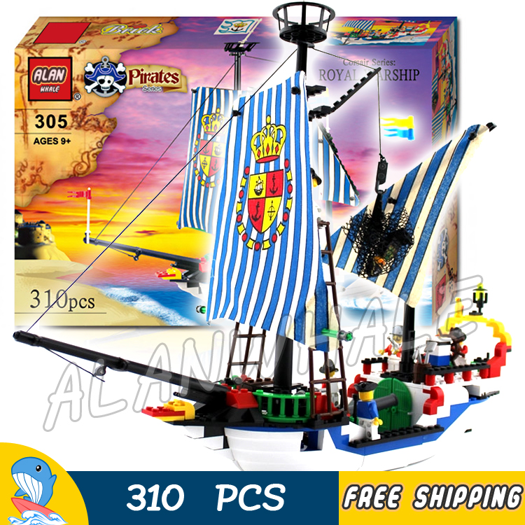 310pcs New Pirates of the Caribbean Imperial Royal Flagship Warship Ship 305 Model Building Kit Blocks Toys Compatible With Lego lepin 22001 1717pcs pirate ship imperial warships model building blocks toy compatible with legoe pirates caribbean 10210