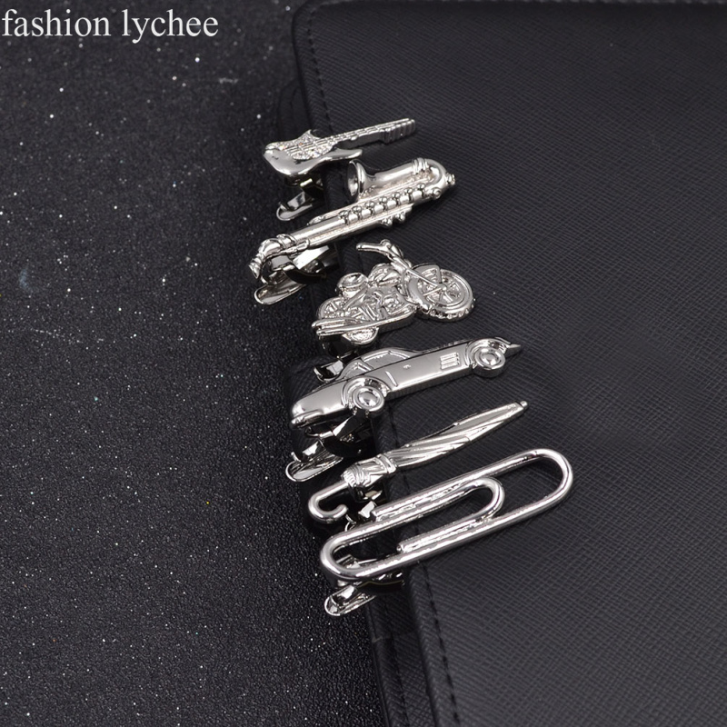 fashion lychee Metal Men Tie Clip Gentlemen Classy Necktie Tie Bar Clasp Clip Pin Guitar Car Umbrella Wedding Tie Men Jewelry
