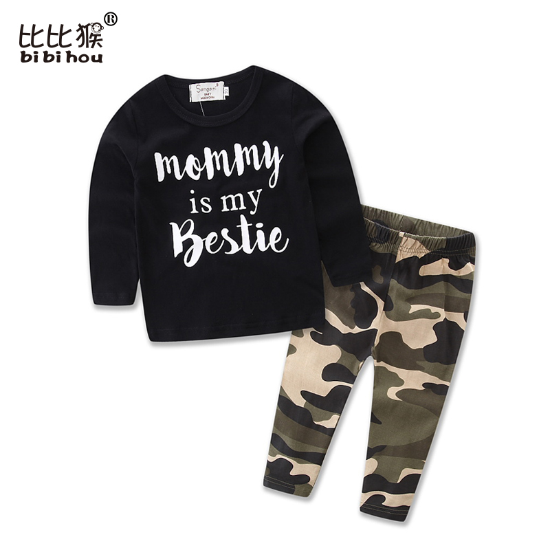 bibihou Baby boy clothes 2017 New spring and Autumn camouflage kid long sleeve t-shirt+casual long pants sport suit kids clothes