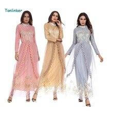 Tonlinker Muslim Dress Summer Women lace mesh Maxi Dubai Abaya Jalabiya Islamic Embroidery Malaysia India Clothing