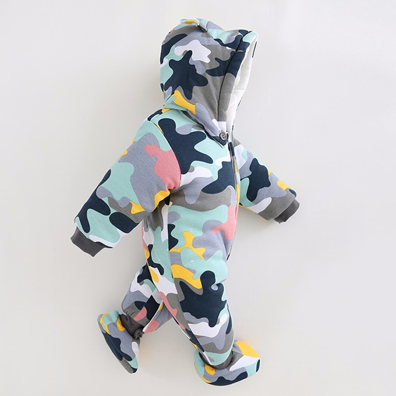 2017 NEW Baby Rompers Winter Thick Warm Baby boy Clothing Long Sleeve Hooded Jumpsuit Kids Newborn Outwear for 0-18M warm thicken baby rompers long sleeve organic cotton autumn