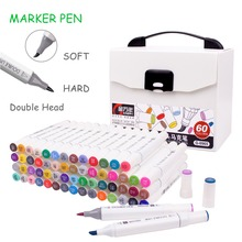 12/24/48/60 Colors Artist Dual Head Drawing Sketch Markers Set Brush Alcohol Based Art Marker Pens For School Drawing