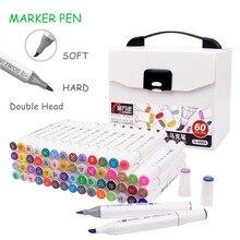 Ensemble de marqueurs pour dessin à double tête, 12/24/48/60 couleurs, marqueurs dartiste avec brosse à base dalcool, stylos dart pour le dessin à lécole