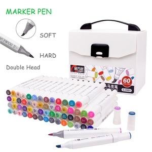 Image 1 - Ensemble de marqueurs pour dessin à double tête, 12/24/48/60 couleurs, marqueurs dartiste avec brosse à base dalcool, stylos dart pour le dessin à lécole