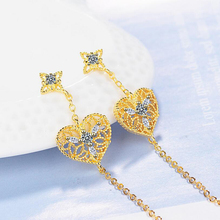 Love Heart Earrings Long Drop Clear Zircon Chain Dangle Earring Silver Gold Color Hollow Simple Jewelry