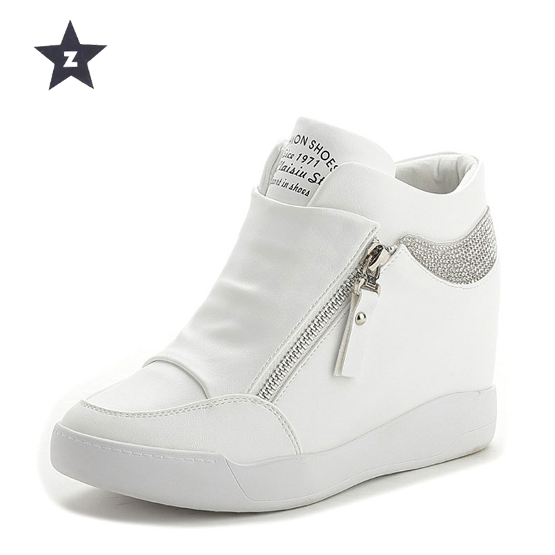 Z women casual shoes thick high heels Increased internal wedges platform shoes white black fashion brand