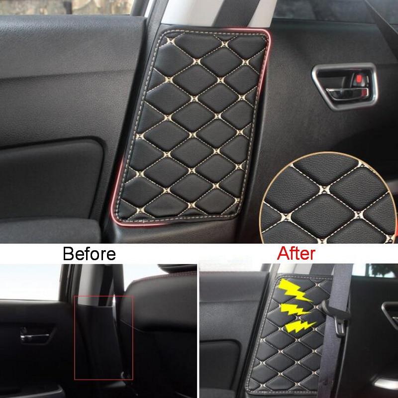 Tonlinker Interior B-pillar seat belt Cover Anti-dirty Stickers for SUZUKI VITARA 2016-19 Car Styling 2 PCS PU Leather Covers