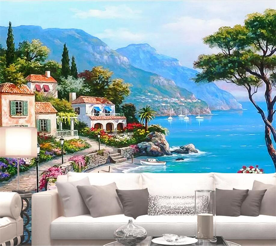 Beibehang Custom Wallpaper 3d Large Photo Mural Mediterranean Sea Garden Landscape Oil Painting TV Background Wall Paper Murals