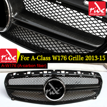 W176 Carbon fibe Front Mesh Grille Without Emblem For Mercedes Benz A-CLASS A180 A200 250 A45AMG 2013-15 Auto Racing